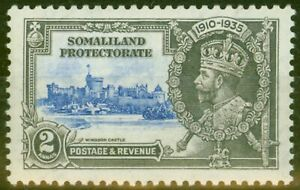 Somaliland 1935 2a Ultramarine & Grey SG87K Kite & Vertical Log Fine Mtd Mint