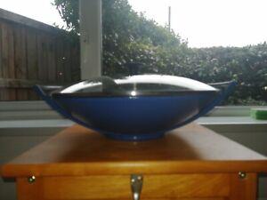 Le Creuset Blue 36cm Wok Large~Glass Lid~Cast Iron~ damage Collect Norwich nr7
