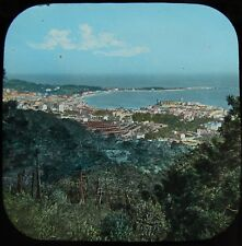 HAND COLOURED Glass Magic Lantern Slide CANNES FROM GARDENS C1890 PHOTO FRANCE