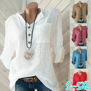 Womens Tunic Cotton Linen Pullover Blouse Tops Ladies Baggy Long Sleeve T-Shirt