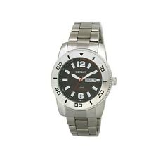 Henley Gents Day Date Bracelet Watch Polished Chrome H3106.10 BLACK FACE
