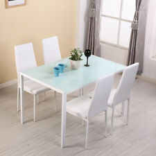 White Gloss Glass Dining Table and 4 Chairs Faux Leather Padded Seat Dinning Set