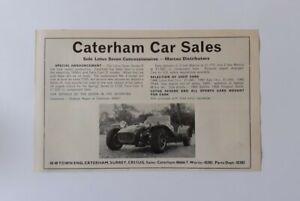 Caterham Car Sales Original Advert from 1970 - features Lotus Seven Series 3