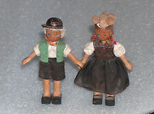 RARE PAIR OF 2 CUTE VINTAGE ANTIQUE WOODEN JOINTED DOLLS, GERMANY OR EUROPE