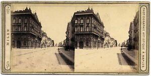 Milan Corso Venezia Rare Stereo card Albumen photo 1860c S1071
