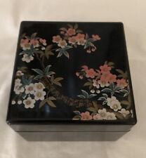 Sankyo Vintage Black Lacquer Music Box W/Painted Floral Design