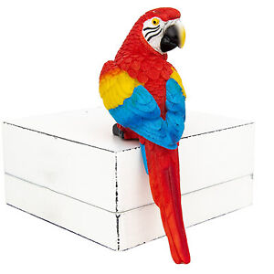 """Shelf Sitting Tropical Red Macaw Parrot Island Style Accent for the Beach Bar 6"""""""