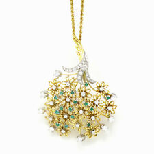 NYJEWEL 18k Two Tone Gold 2.5ct Diamond Emerald Large Tree Pin Pendant Necklace
