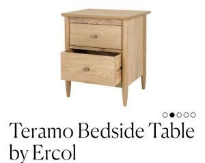 Feather & Black ERCOL TERAMO 2 Drawer Bedside Table OAK  Drawer