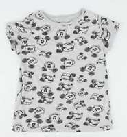 Primark Grey Graphic Cotton Blend Womens Mickey Mouse T-Shirt Size 4 (Regular)