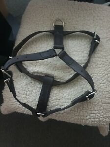 New 100% Real Leather Large Handmade Dog Harness heavy duty Black