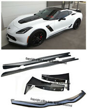 For 14-Up Corvette C7 Stage 3 Front Lip Kit W/ Extensions Winglets + Side Skirts