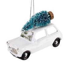 Baumkugel -Xmas Car- Glas 10cm weiss Weihnachtsdeko Xmas Kugeln Decor