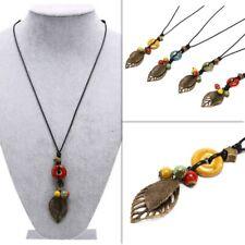 Necklace Ceramic Bead Bronze Leaf Star Ladies Long Adjustable Black Ethnic Cord