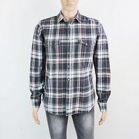 Topman Mens Size L XL Grey Check Long Sleeve Cotton Shirt