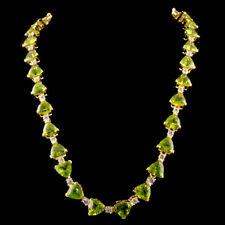 WJA CERTIFIED Peridot 48.38CTW & Topaz 3.82CTW Sterling Silver Vermeil Necklace
