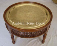 """Handcrafted Moroccan Gold Brass 24"""" Round Brass Tray Tea Coffee Table"""