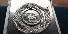 """1924 Italy Liberty Lire Pendant on 30"""" Italian Made Sterling Silver Rope Chain"""