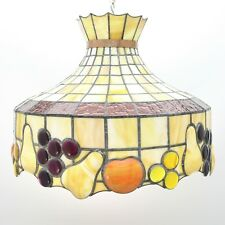 "REPAIR Vintage 20"" Tiffany Style Fruit Textured Stained Glass Light Lamp Shade"