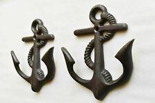 More details for pair of vintage cast iron ships anchor coathook coat hook hanger nautical al60