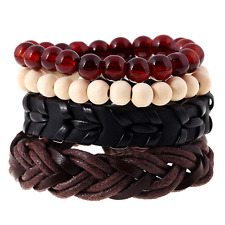 Fashion Men's Wood Beads Multilayer Leather Bangle Bracelet Punk Wristband Set