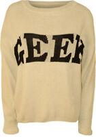 New Womens Geek Slogan Print Long Sleeve Sweater Top Ladies Knitted Jumper 8-14