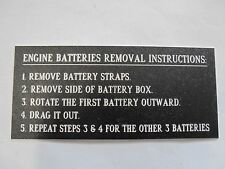 "NEW BOAT PLAUQE TO REMOVE BATTERIES PANEL BOAT   6"" X 3"""