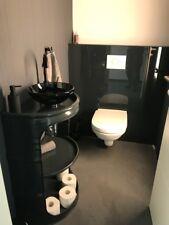 Moderner Fassregal mit Waschbecken mit 2 Fächern Wasserhahn Anthrazit