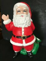 "Vintage Christmas Ceramic Santa Claus waving and with Toy bag 11"" Tall EC"