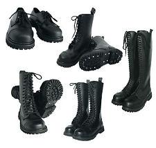 UK Ranger Gothic Punk Style Leder Loch Boots Springerstiefel Stahlkappe schwarz