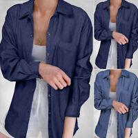 Women Collared Long Sleeve Button Down Denim Shirts Tunic Casual Top Blouse Plus