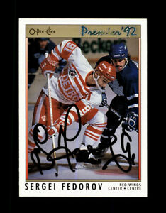 AUTOGRAPHED 1991-92 O-PEE-CHEE OPC PREMIER SERGEI FEDOROV - DETROIT RED WINGS