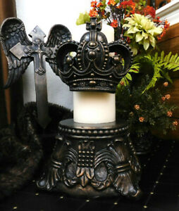 LARGE Crown Candle Pin for Pillar Candle. Old World Plaster Home Decor. Medieval