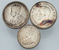 Lot of 3 Australian Silver Coins (1931 Shilling, 1912 Florin, 1943 Florin) G-XF