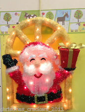 GOLD SISAL WINDOW WITH TINSEL SANTA, LIGHT UP CHRISTMAS DECORATION