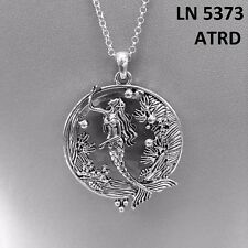 Silver Finished Sea Ocean Life Mermaid Design Magnifying Glass Pendant Necklace