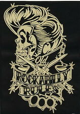 ROCKABILLY RULES Old Scool Switchblades XL Embroidered Back Jacket Patch 9.8""