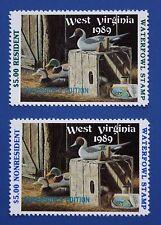 U.S. (WV03G/03GA) 1989 West Virginia State Governor Edition Duck Stamp set (MNH)