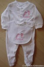 PERSONALISED BABYGROW & BIB NEW BABY NEWBORN 0-3MTHS BOY/GIRL PINK/BLUE GIFT SET
