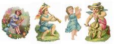 4 PETITS DECOUPIS ANGES MUSICIENS VIOLONCELLE LYRE…
