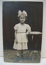 Vtg Pretty Little Girl Big Bow Real Photo Postcard  Mabel R. Lindenmuth RPPC