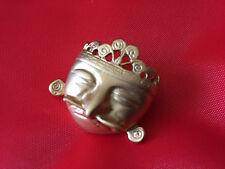 Broche Máscara Cacique reproducción/réplica precolombina chapado Oro 24 ktes