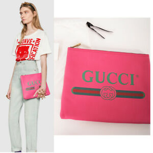 NEW $1050 GUCCI Hot Pink Pebble Leather VINTAGE 80's GG LOGO Oversize CLUTCH BAG