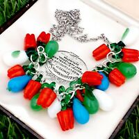 Vintage Style - Fresh & Bright Glass Vegetable Necklace Red Peppers & Aubergine