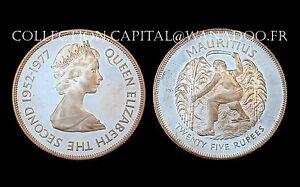 25 Rupees 1977 Mauritius/ Ile Maurice. Elizabeth II°. Argent/Silver