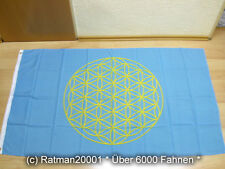 Fahnen Flagge Blume des Lebens Blau Sonderposten - 90 x 150 cm