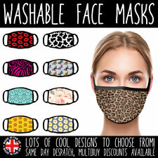 FACE MASKS - UK VIRUS WASHABLE REUSABLE PROTECTIVE MOUTH COVERINGS COOL PATTERNS