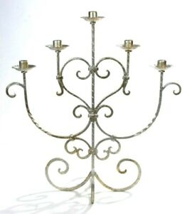 """Wrought Iron Silver Tone Large 5 Candlelight Candelabra 21.5""""H x 20.25"""" W Vtg"""