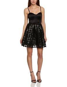 Glamorous Women's Rena Sweetheart Grid Overlay Skater Dress, Black, Size 8