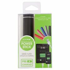 Hype 2200mAh USB Mobile Tablet Power Stick Lithium-Ion Battery Pre-Charged Black